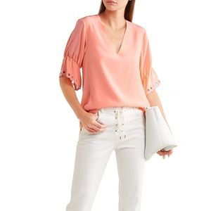 Chloe brodeire anglaise-trimmed silk blouse